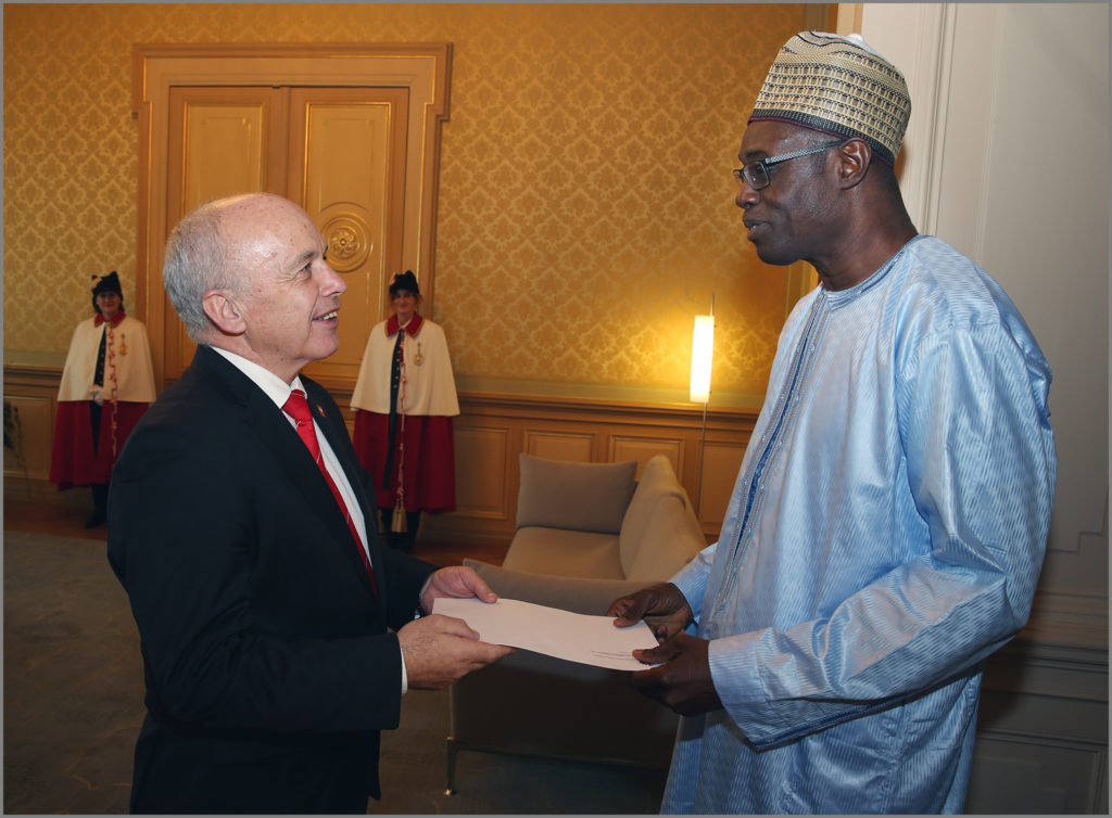 GAMBIA'S AMBASSADOR TO THE SWISS CONFEDERATION PRESENTS LETTER OF CREDENCE